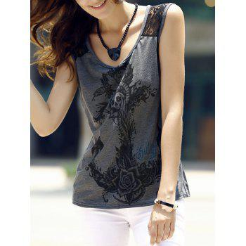 Trendy Scoop Neck Lace Splicing Totem Print Tank Top For Women