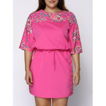 Fashionable Flower Print Boat Neck Short Sleeve Plus Size Dress For Women