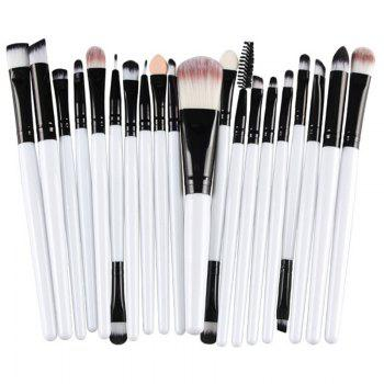 Practical 20 Pcs Multifunction Plastic Handle Nylon Makeup Brushes Set - WHITE WHITE