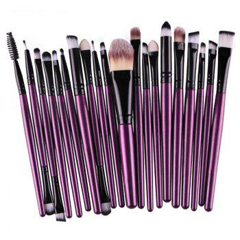 Practical 20 Pcs Multifunction Plastic Handle Nylon Makeup Brushes Set - PURPLE PURPLE