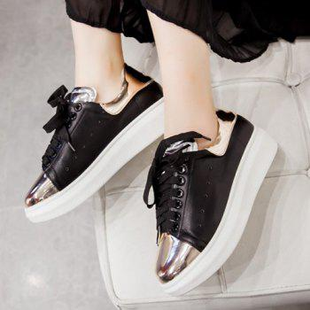Lace Up Color Block Platform Shoes - BLACK 37
