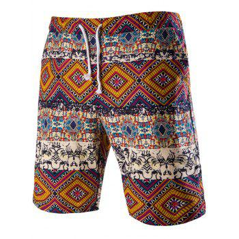 Tribal Print Drawstring Boardshorts