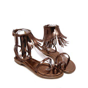 Toe Ring Fringe Flat Sandals - DEEP BROWN 38