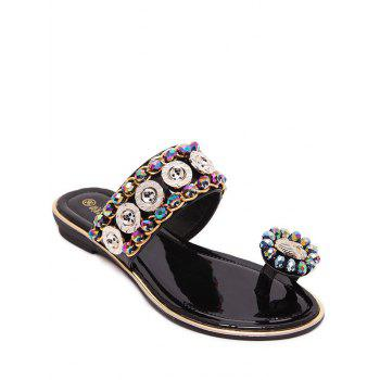 Trendy Toe Ring and Metal Design Slippers For Women