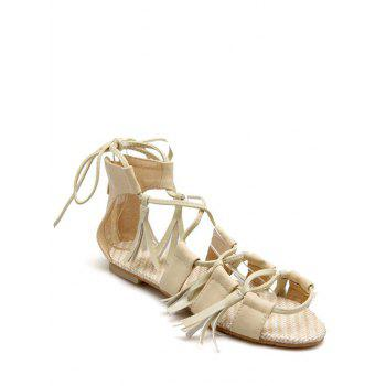 Rome Tassels and Lace-Up Design Sandals For Women