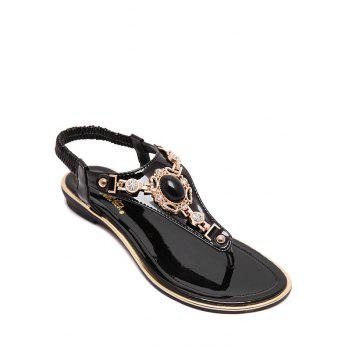 Stylish Faux Gem and Flat Heel Design Sandals For Women