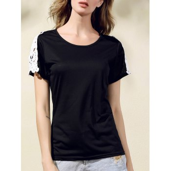 Stylish Round Collar Short Sleeve Lacing Spliced T-Shirt For Women