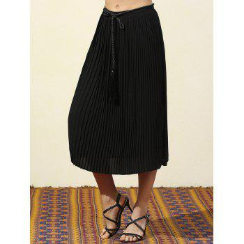 Trendy A-Line Pleated Black Women's Chiffon Skirt