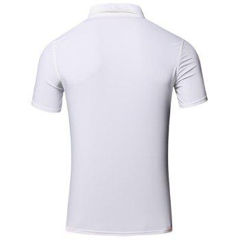 Conception brodée col rabattu manches courtes en coton + Lin Men  's Polo T-Shirt - Blanc 2XL