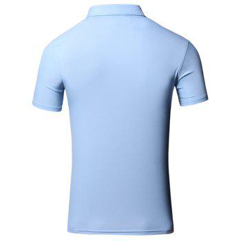 Embroidered Design Turn-Down Collar Short Sleeve Cotton+Linen Men's Polo T-Shirt - LAKE BLUE M