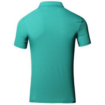 Embroidered Design Turn-Down Collar Short Sleeve Cotton+Linen Men's Polo T-Shirt - GREEN XL
