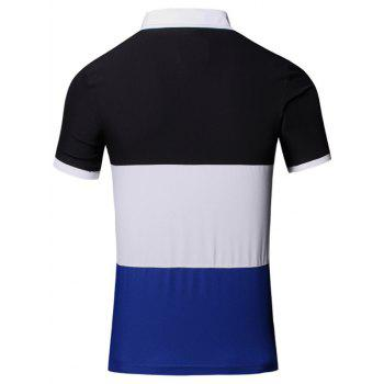 Color Block Splicing Design Turn-Down Collar Short Sleeve Cotton+Linen Men's Polo T-Shirt - CADETBLUE M