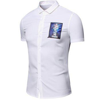 Men 's  Turn-Down Collar Lettre Imprimé conception de poche manches courtes T-shirt - Blanc 3XL
