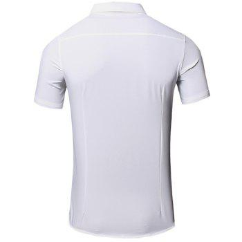Men's Turn-Down Collar Letter Printed Pocket Design Short Sleeves Shirt - WHITE M