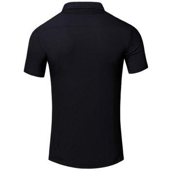 Men's Turn-Down Collar Letter Printed Pocket Design Short Sleeves Shirt - BLACK 2XL