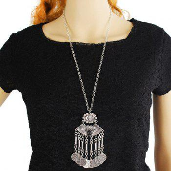 Embossed Coins Tassel Sweater Chain -  SILVER