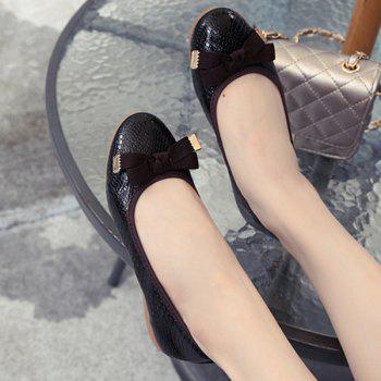 Leisure Bowknot and Embossing Design Women's Flat Shoes - BLACK 38