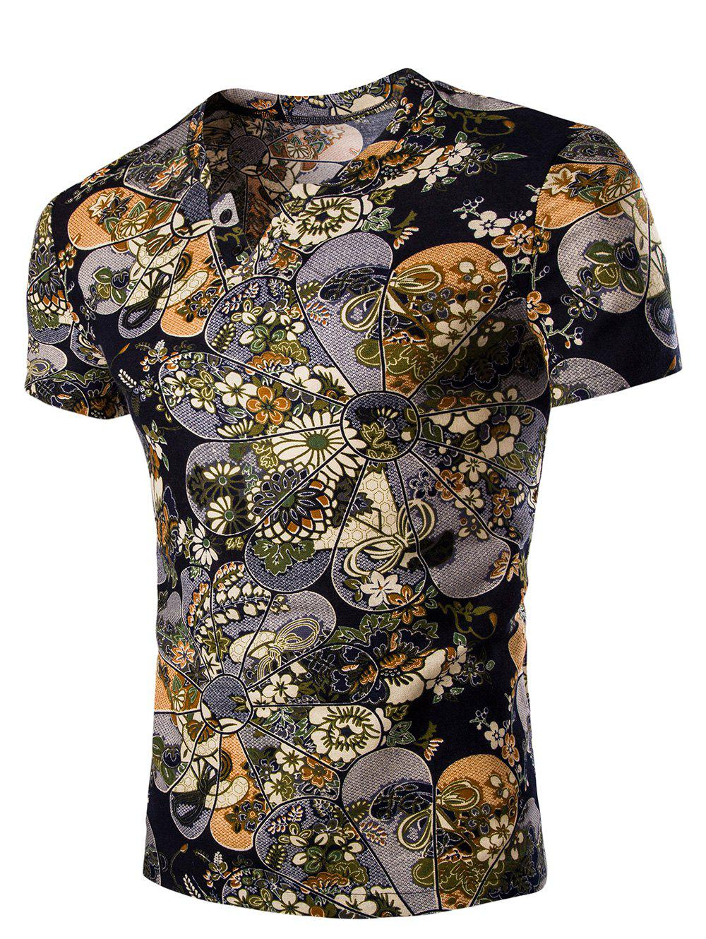 Men's Casual V Neck Flower Printing Short Sleeves T-Shirt - COLORMIX M