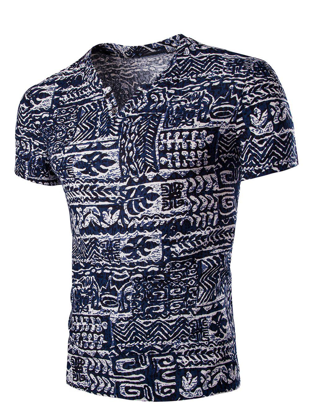 Men's Casual V Neck Abstract Printing Short Sleeves T-Shirt - COLORMIX M