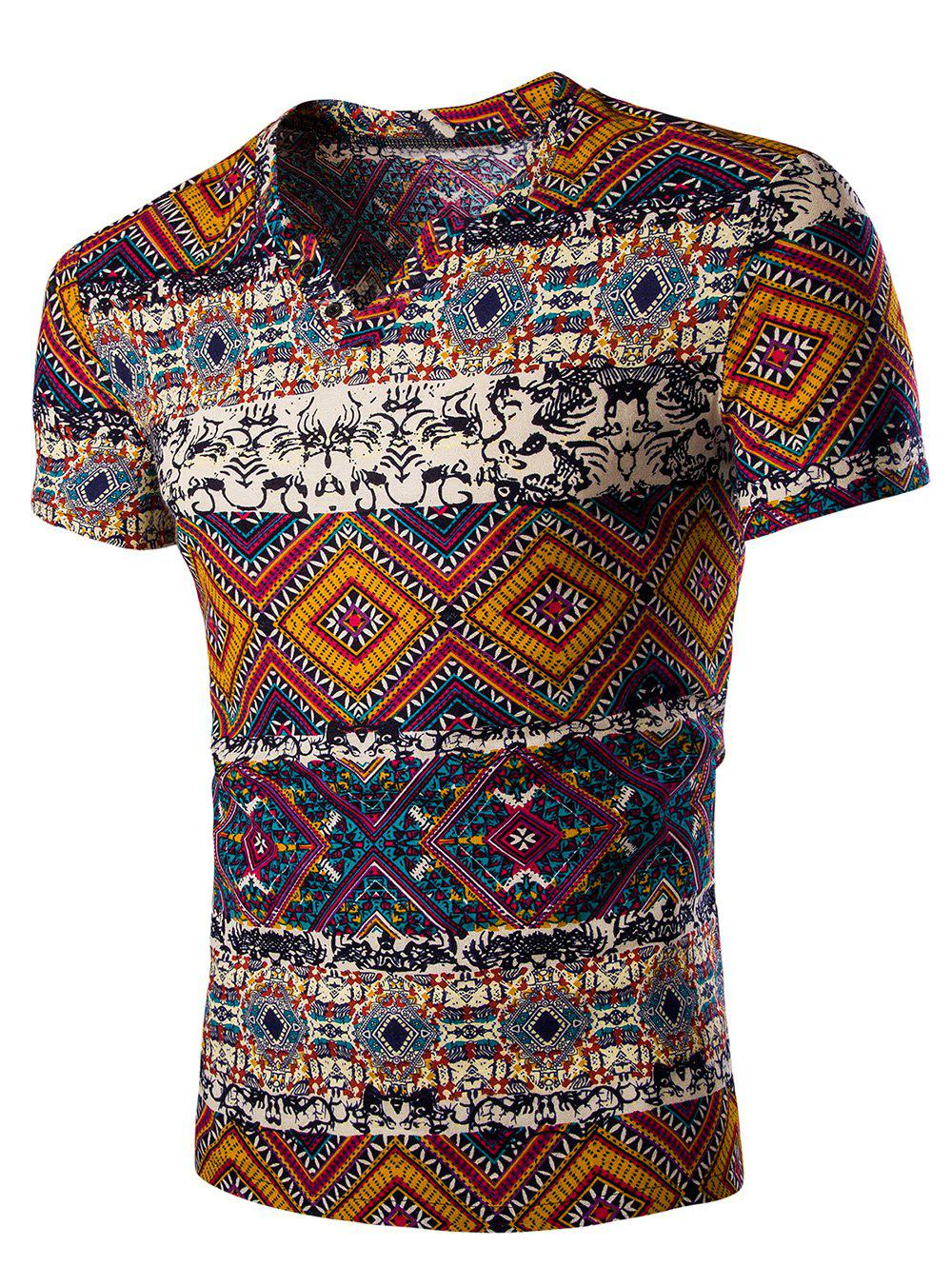 Men's Fashion V Neck Abstract Printing Short Sleeves T-Shirt - ORANGE M