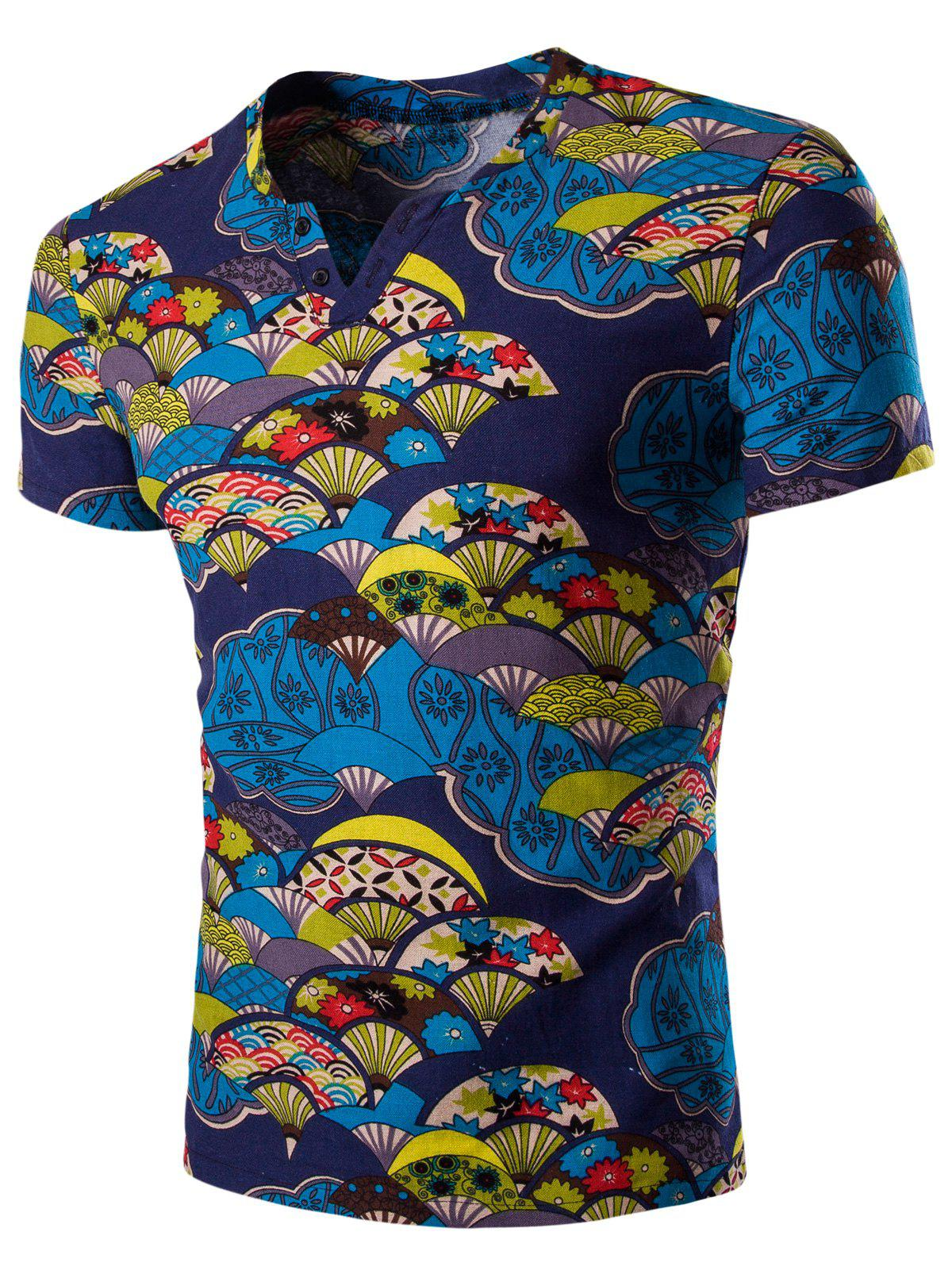 Casual Short Sleeves Fan Printed Men's T-Shirt диск replay hnd11 7x17 5x114 et47 0 sil