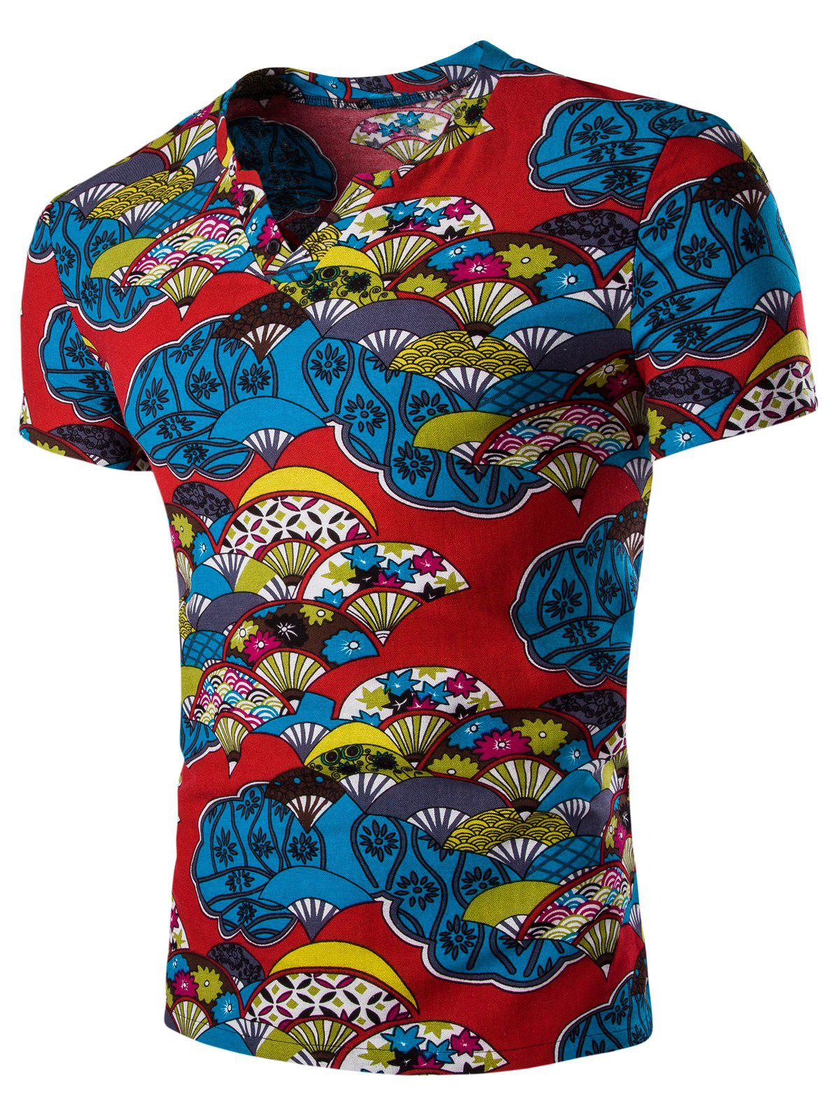 Casual Short Sleeves Fan Printed Men's T-Shirt