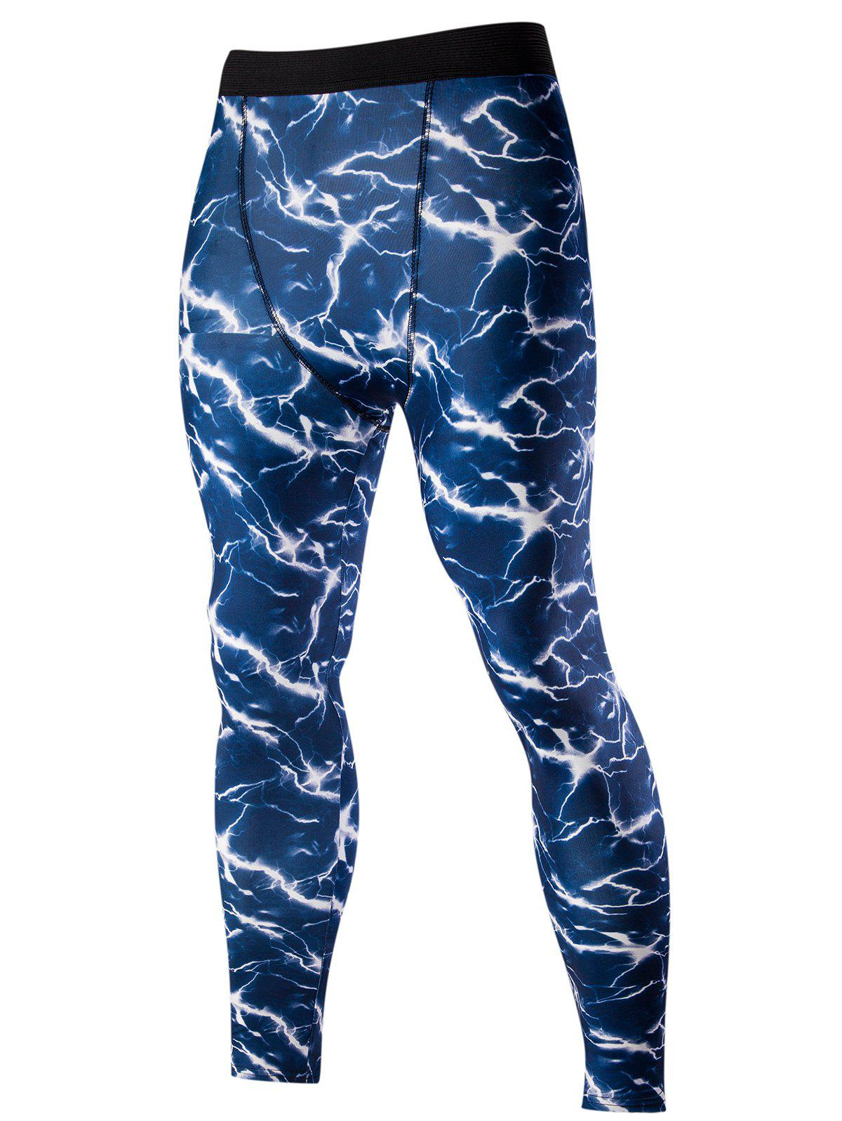 Mens Stylish Elastic Waist Abstract Print Training PantsMen<br><br><br>Size: L<br>Color: BLUE