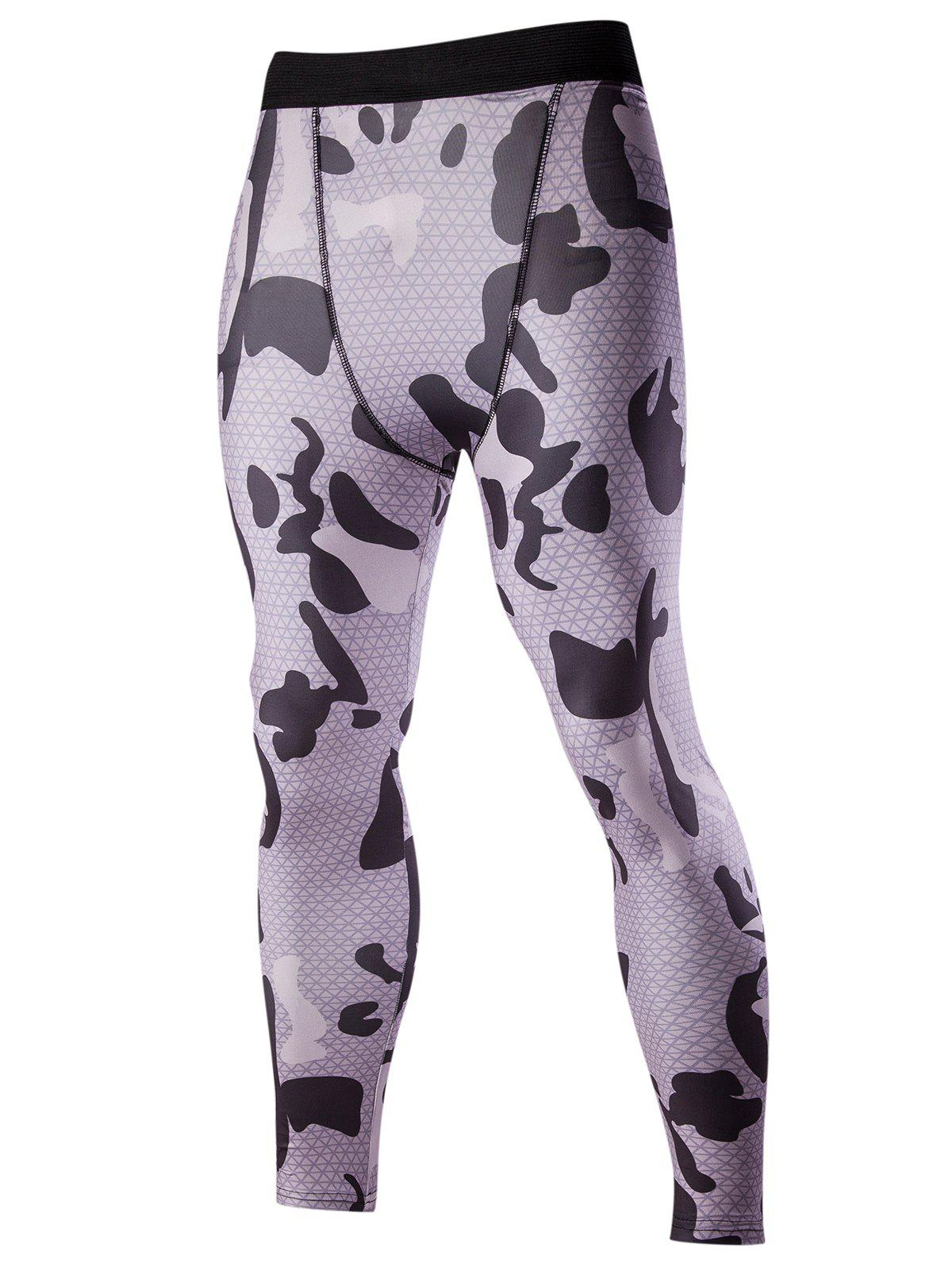 Men's Elastic Waist Camouflage Pattern Fitted Training Pants - DEEP GRAY M