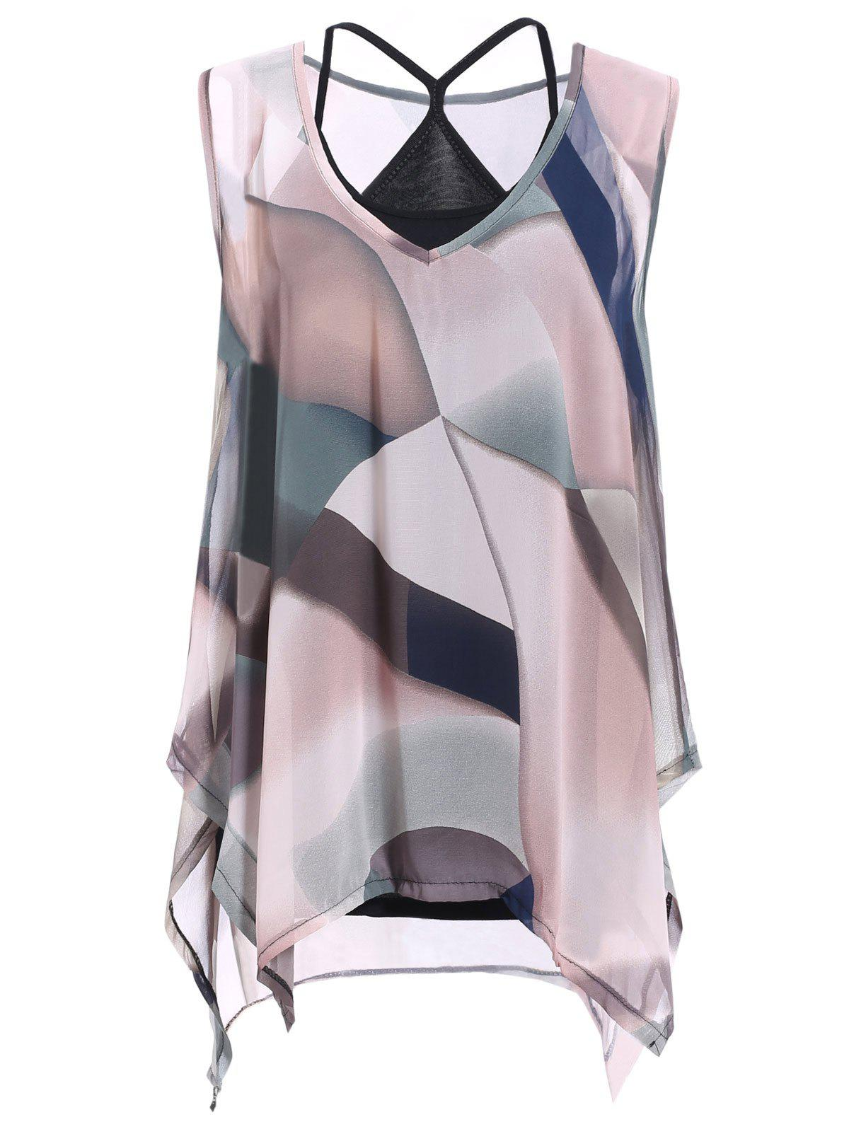 Tank Top and Asymmetrical Colorful Print Blouse - PINK ONE SIZE