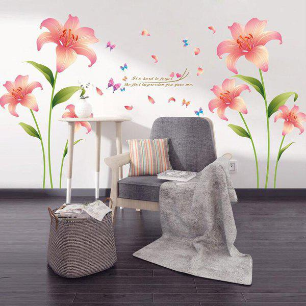 Stylish Pink Lilium Pattern Wall Sticker For Livingroom Bedroom Decoration - COLORMIX