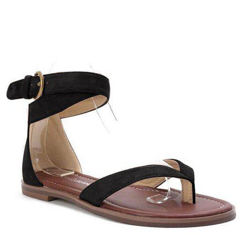 Concise Cross Straps and Flock Design Women's Sandals - BLACK 36
