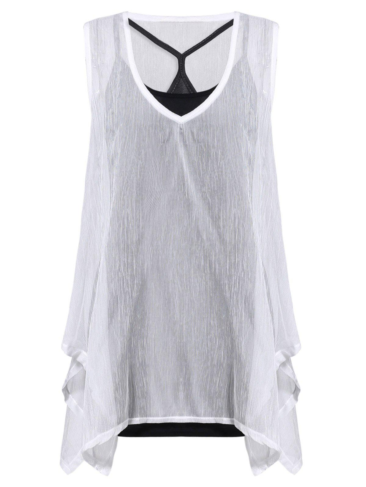 Stylish Women's V-Neck Sleeveless Solid Color Asymmetric Top Twinset - ONE SIZE(FIT SIZE XS TO M) WHITE