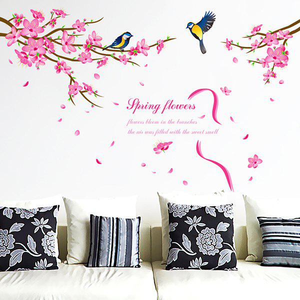 Stylish Peach Blossom Magpie Pattern Wall Sticker For Bedroom Livingroom Decoration - COLORMIX