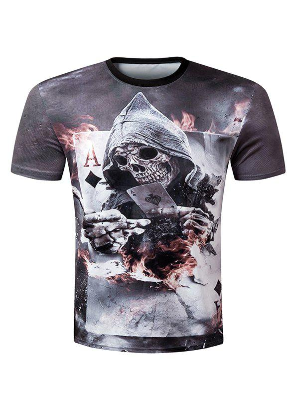 Casual Pullover Round Collar 3D Skull Printed Men's T-Shirt - M COLORMIX