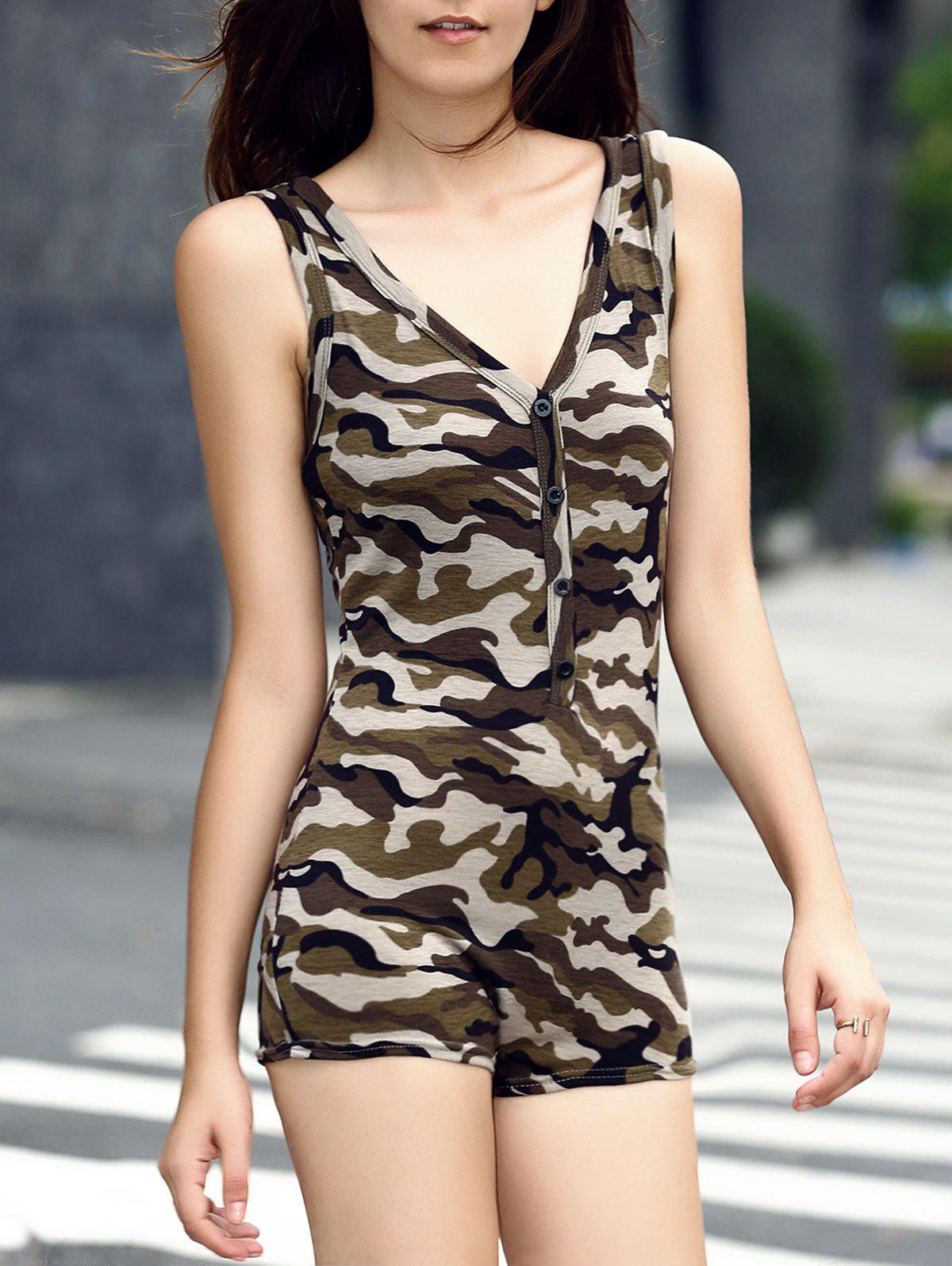 Trendy Plunging Neck Button Fly Camouflage Romper For Women