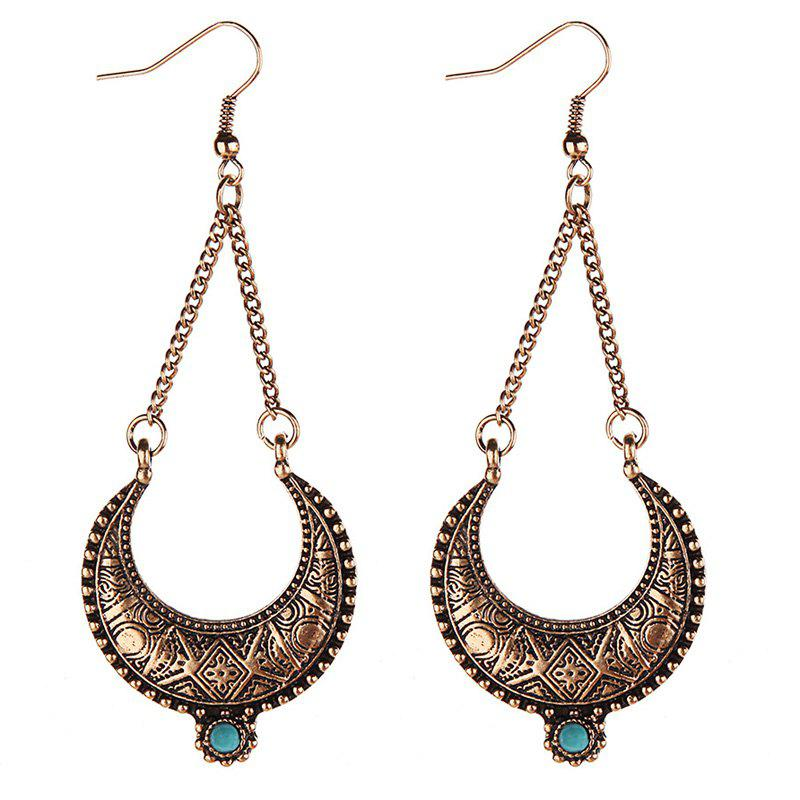 Pair of Faux Turquoise Moon Earrings - GOLDEN