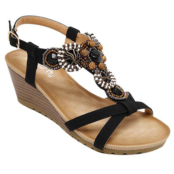Casual T-Strap and Beading Design Women's Sandals - 38 BLACK