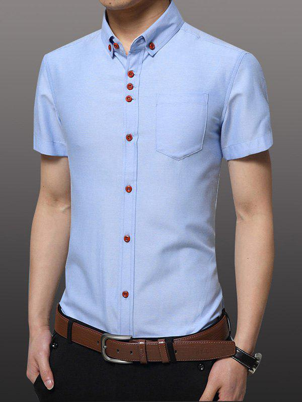Casual Plus Size Solid Collar Men's Button-down Shirt