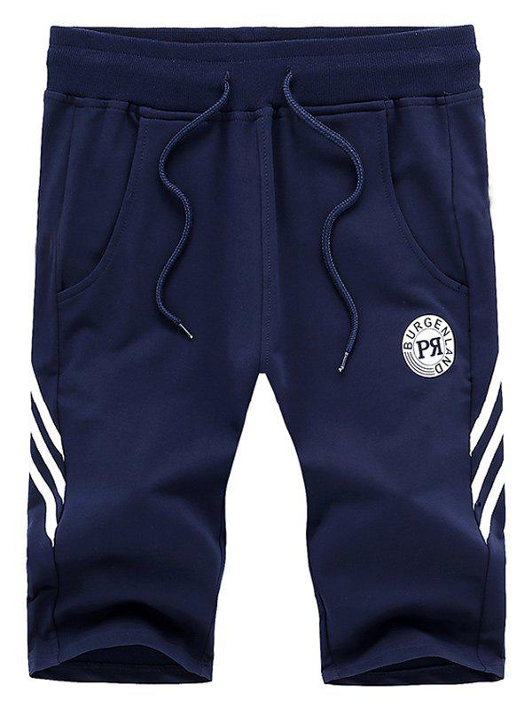 Fashionable Plus Size Straight Leg Stripes Pattern Lace-Up Sports Shorts For Men - BLUE XL