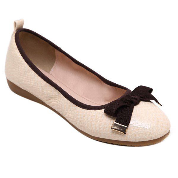 Leisure Bowknot and Embossing Design Women's Flat Shoes - APRICOT 37