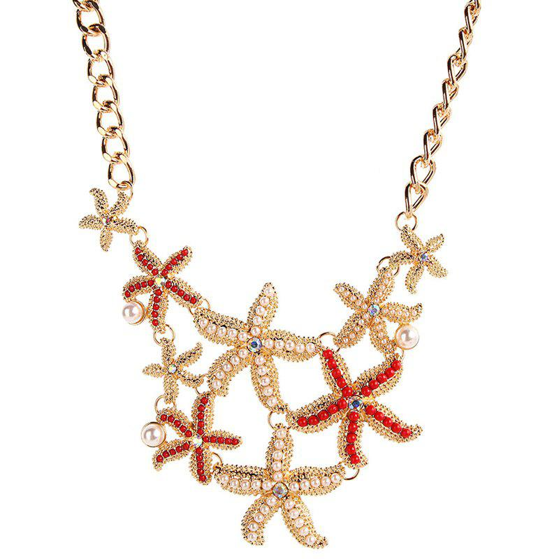 Vintage Faux Pearl Alloy Starfish Necklace clever платье clever 201546 6 белый коралловый