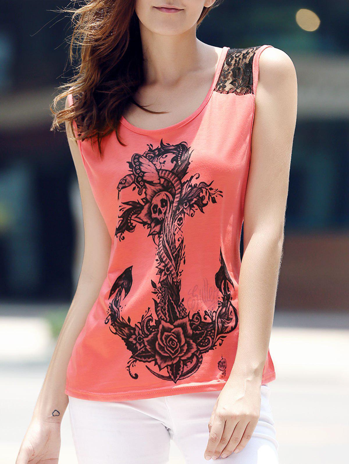 Trendy Scoop Neck Lace Splicing Totem Print Tank Top For Women - PINK S