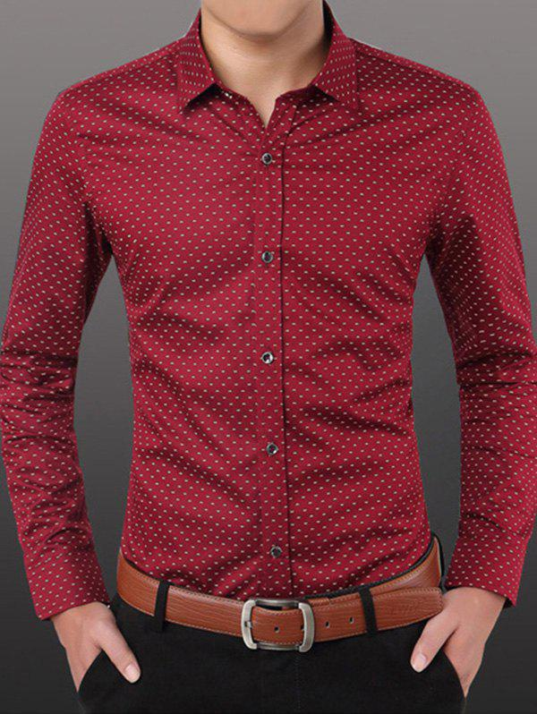 Men's Casual Plus Size Dot Printing Shirt - RED 4XL