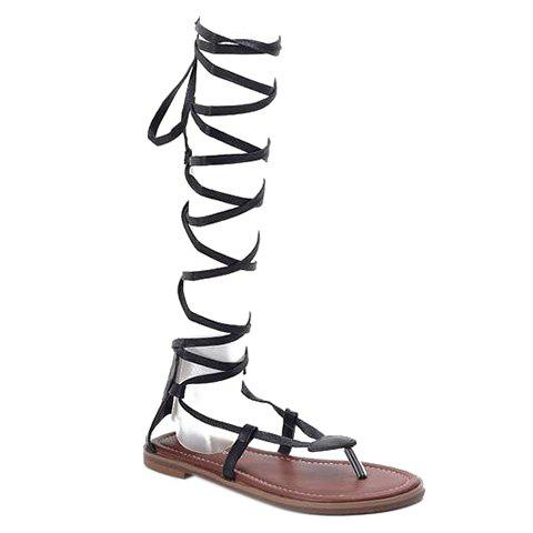 Leisure Lace-Up and Black Color Design Women's Sandals