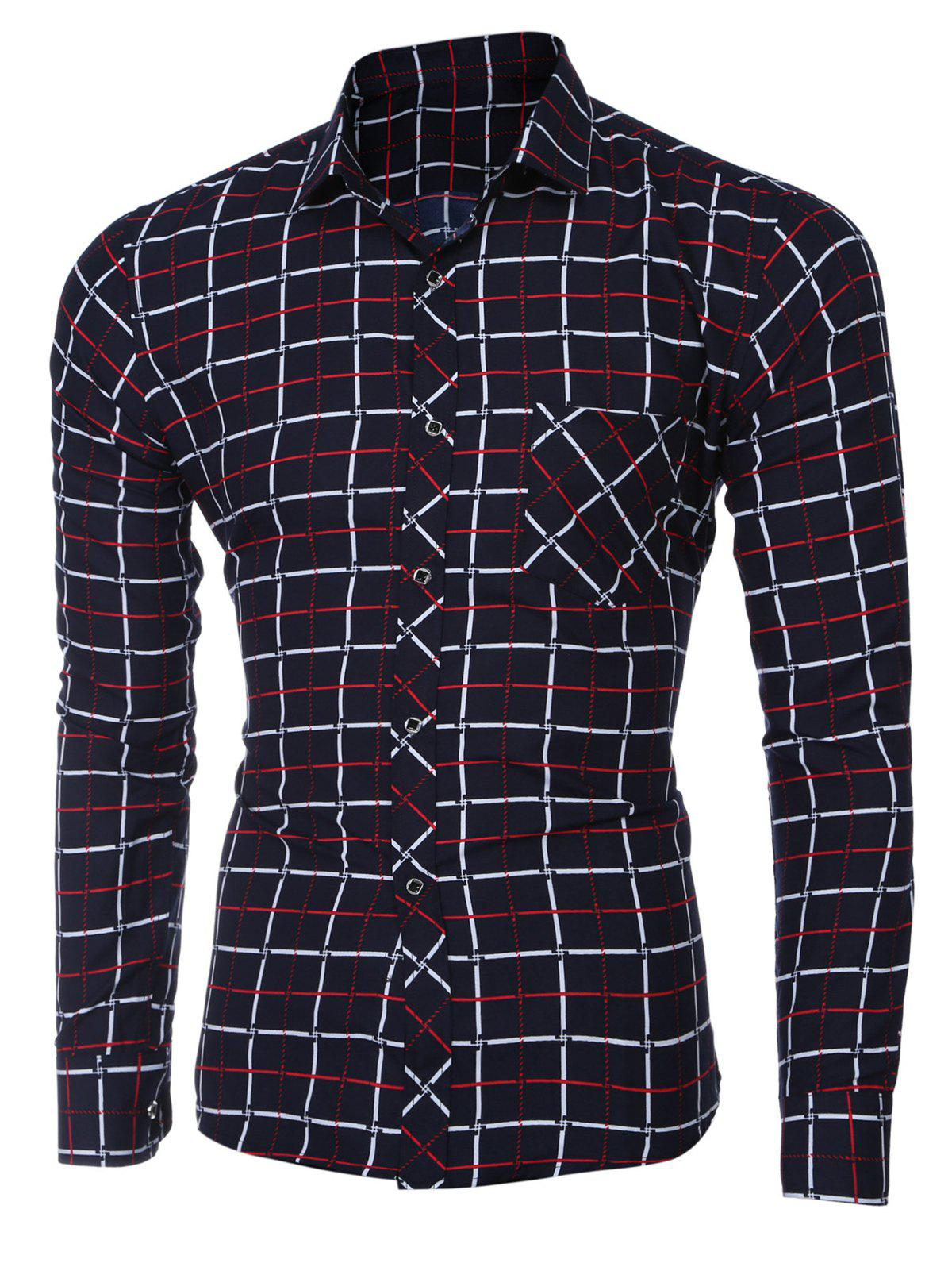 Turn-down Collar Checked Printing Long Sleeves Shirt For Men - RED M
