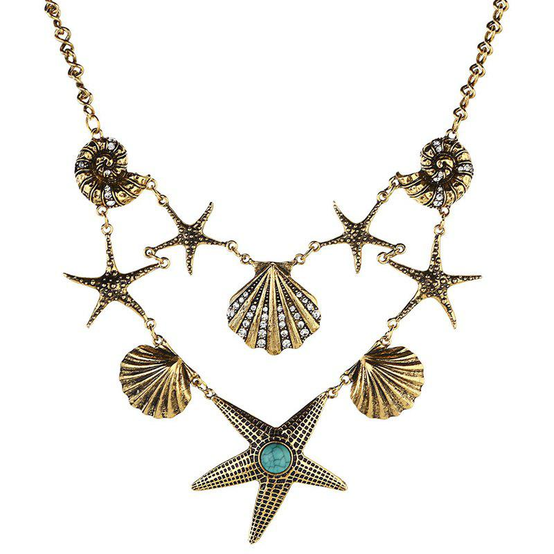 Rhinestone Faux Turquoise Starfish Necklace - GOLDEN