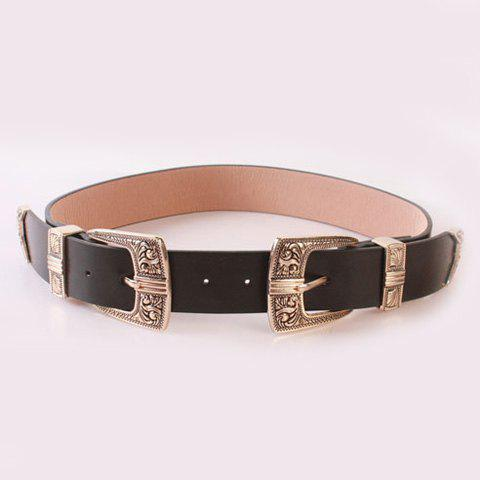 Chic Retro Carve Double Pin Buckles Casual PU Women's Wide Belt - BLACK