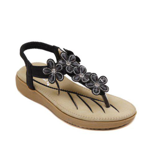 Casual Flowers and Elastic Band Design Women's Sandals - BLACK 38