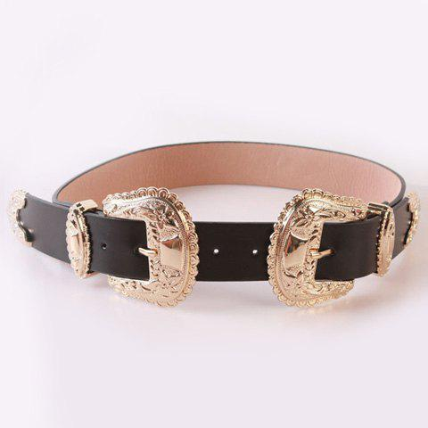 Chic Baroque Style Double Pin Buckles Casual PU Women's Wide Belt - BLACK