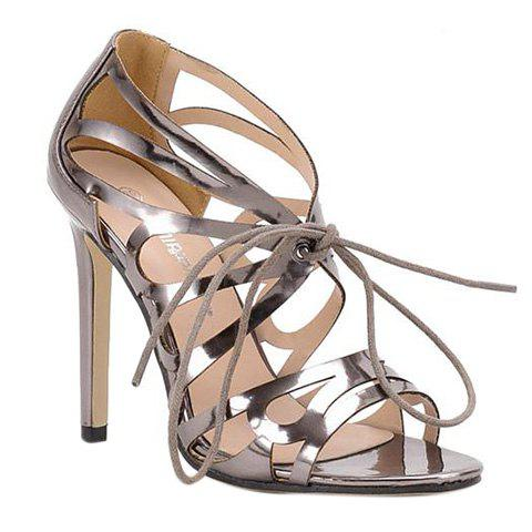 Trendy Lace-Up and Metal Colour Design Women's Sandals - SILVER 39